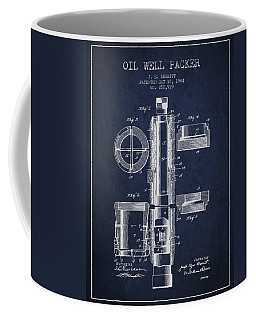 Oil Well Packer Patent From 1904 - Navy Blue Coffee Mug