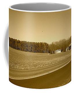 Old Barn And Farm Field In Sepia Coffee Mug by Amazing Photographs AKA Christian Wilson