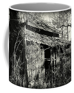 Coffee Mug featuring the photograph Old Barn In Black And White by Lisa Wooten
