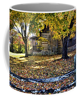 Old Cabin In Autumn Coffee Mug by Kenny Francis