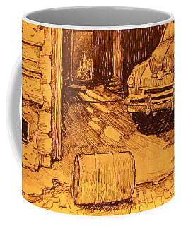 Old Car In Garage Coffee Mug