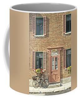 Old Downtown Building Doorway And Bike On Street Coffee Mug