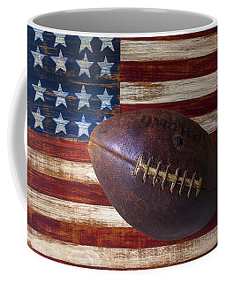 Old Football On American Flag Coffee Mug