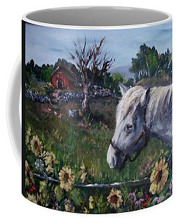 Coffee Mug featuring the painting Old Grey Mare by Megan Walsh
