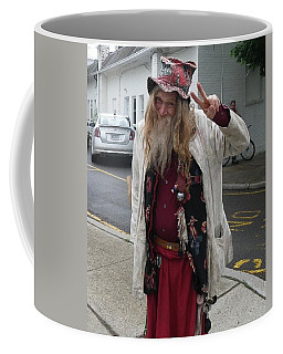 Coffee Mug featuring the photograph Old Hippie In Woodstock Ny  by Anna Ruzsan