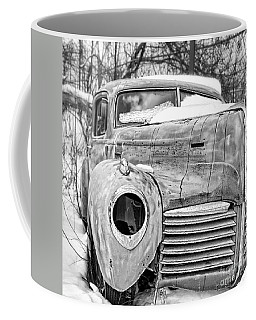 Old Hudson In The Snow Black And White Coffee Mug