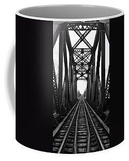 Old Huron River Rxr Bridge Black And White  Coffee Mug
