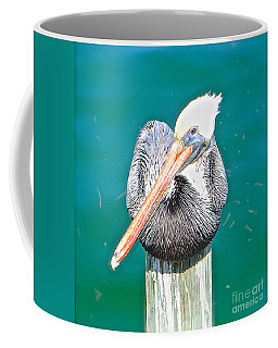 Old Man Pelican On Anna Maria Pier Coffee Mug