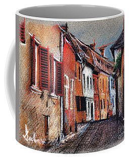 Old Medieval Street In Sighisoara Citadel Romania Coffee Mug