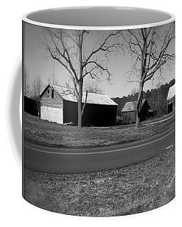 Old Red Barn In Black And White Coffee Mug by Amazing Photographs AKA Christian Wilson