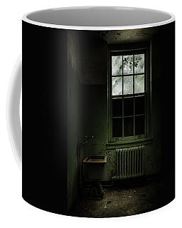 Coffee Mug featuring the photograph Old Room - Abandoned Asylum - The Presence Outside by Gary Heller