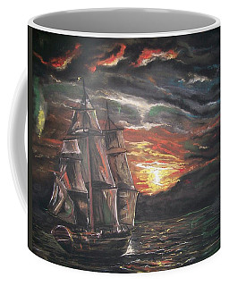 Coffee Mug featuring the pastel Old Ship Of The Sea by Peter Suhocke