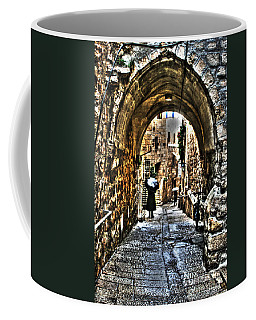 Coffee Mug featuring the photograph Old Street In Jerusalem by Doc Braham