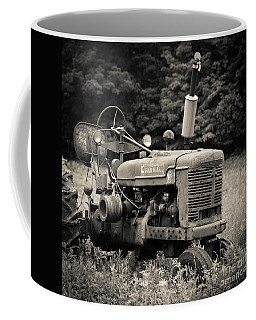 Old Tractor Black And White Square Coffee Mug by Edward Fielding