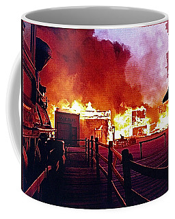 Coffee Mug featuring the photograph Old Tucson In Flames by David Lee Guss
