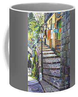 Old Village Stairs - In Tuscany Italy Coffee Mug