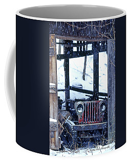 1g25 Old Willys Jeep In Old Barn Coffee Mug