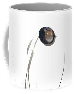 Coffee Mug featuring the photograph Olga Cat Reflected In Drawer Knob by Kathy Barney