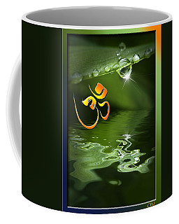 Coffee Mug featuring the mixed media Om On Green With Dew Drop by Peter v Quenter