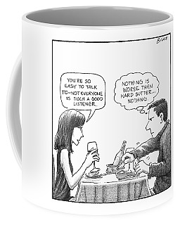On A Date, A Woman Compliments The Man's Coffee Mug