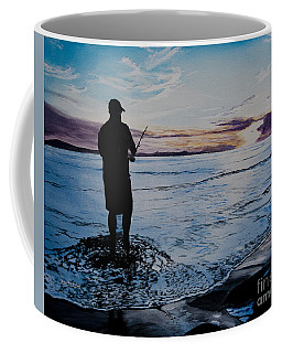 On The Beach Fishing At Sunset Coffee Mug