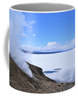 Coffee Mug featuring the photograph On The Edge Of Lake Yellowstone by Michele Myers