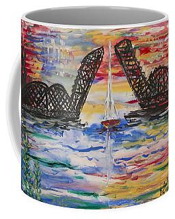 On The Hour. The Sailboat And The Steel Bridge Coffee Mug