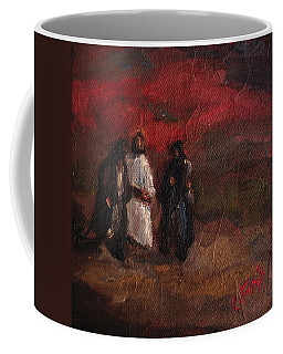 On The Road To Emmaus Coffee Mug by Carole Foret