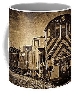 On The Tracks... Take Two. Coffee Mug by Peggy Hughes