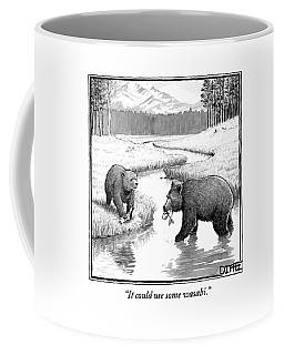 One Bear Speaks To Another As They Catch Fish Coffee Mug