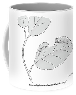 One Caterpillar Speaks To Another As They Munch Coffee Mug
