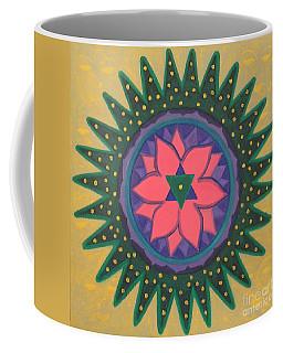 Coffee Mug featuring the painting One Gold Bindu by Mini Arora