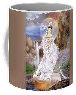 Coffee Mug featuring the photograph One Leaf Kuan Yin by Lanjee Chee