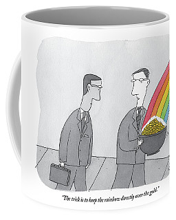 One Man  Holds A Pot Of Gold At The Tail End Coffee Mug