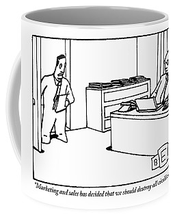 One Office Worker Speaks To Another Seated Coffee Mug
