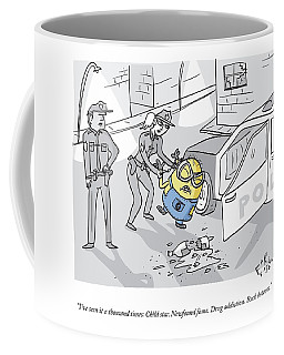 One Police Officer Speaks To Another Who Coffee Mug