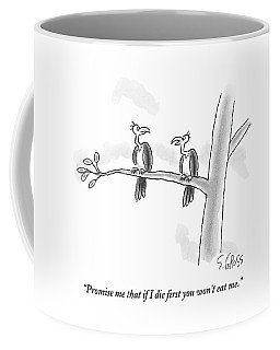 One Vulture Speaks To Another On A Tree Branch Coffee Mug