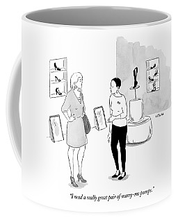 One Woman Consults With Another Woman In A Shoe Coffee Mug