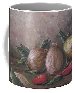 Coffee Mug featuring the painting Onions And Peppers by Megan Walsh