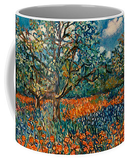 Coffee Mug featuring the painting Orange And Blue Flower Field by Kendall Kessler