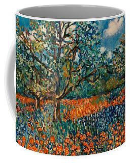 Orange And Blue Flower Field Coffee Mug