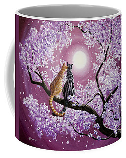 Orange And Gray Tabby Cats In Cherry Blossoms Coffee Mug