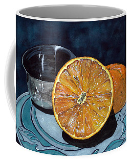 Coffee Mug featuring the painting Orange And Silver by Barbara Jewell