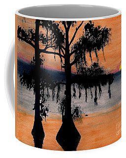 Coffee Mug featuring the drawing Orange Cypress Sunset by D Hackett