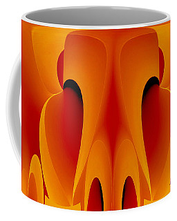 Coffee Mug featuring the mixed media Orange Mask by Rafael Salazar