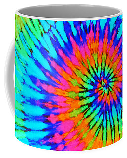 Orange Pink And Blue Tie Dye Spiral Coffee Mug by Catherine Sherman
