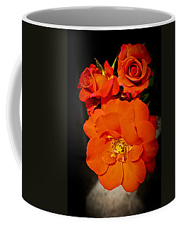 Coffee Mug featuring the photograph Orange Rose Trio by Joann Copeland-Paul
