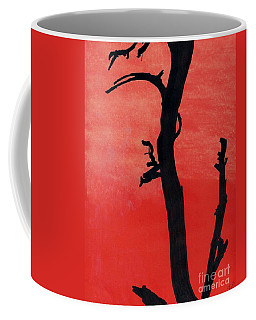 Coffee Mug featuring the drawing Orange Sunset Silhouette Tree by D Hackett