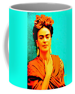 Coffee Mug featuring the mixed media Orange You Glad It Is Frida by Michelle Dallocchio