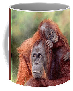 Orangutans Painting Coffee Mug by Rachel Stribbling